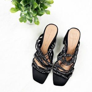 Zara Strappy Slogan Block Heels Size 38
